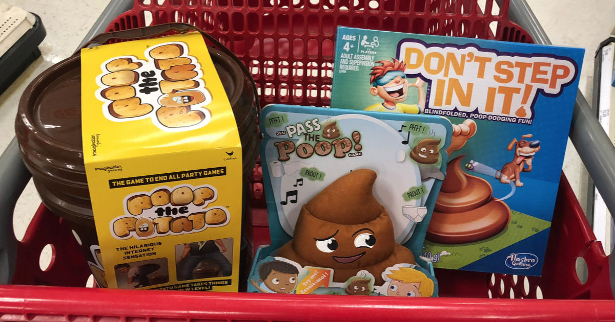 poop-themed board games in a Target shopping cart