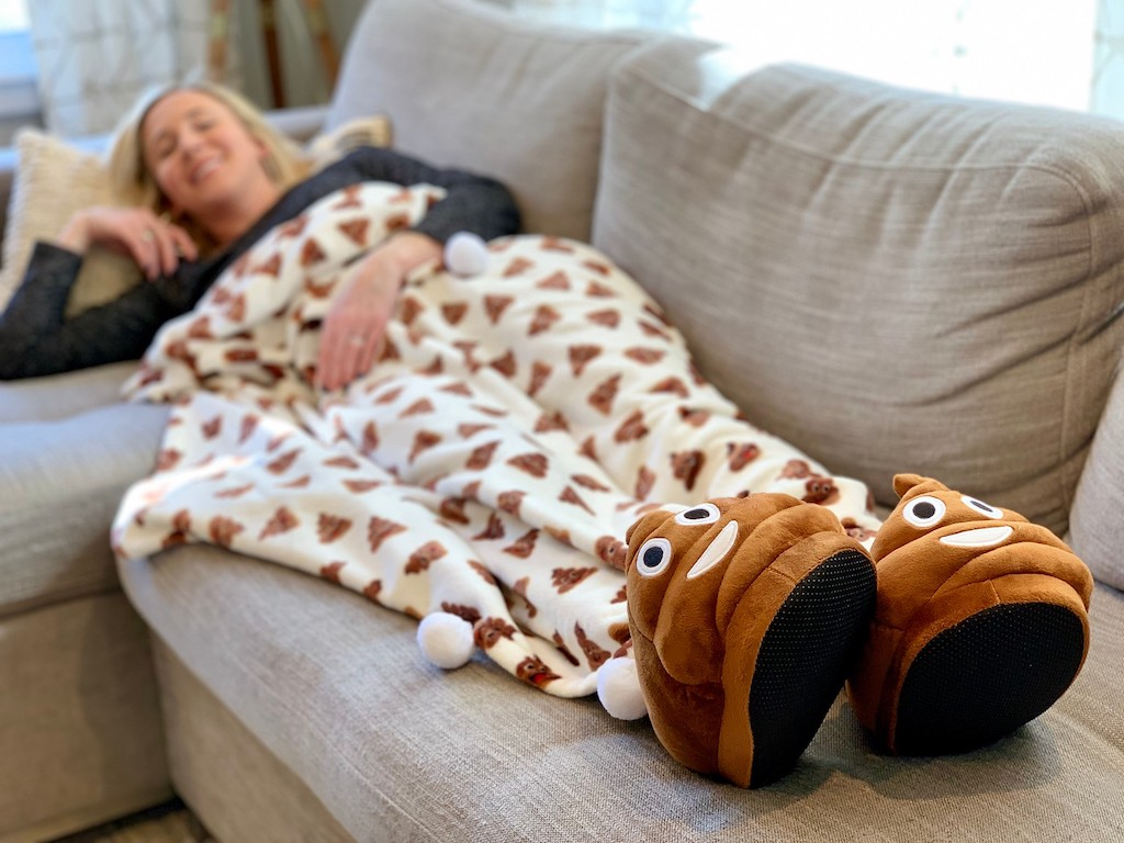 Poop Slippers and Blanket