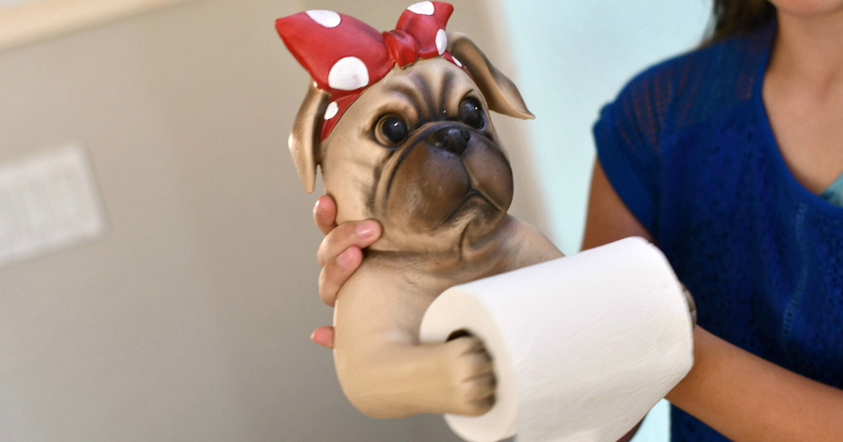 Pug toilet paper animal holder deal