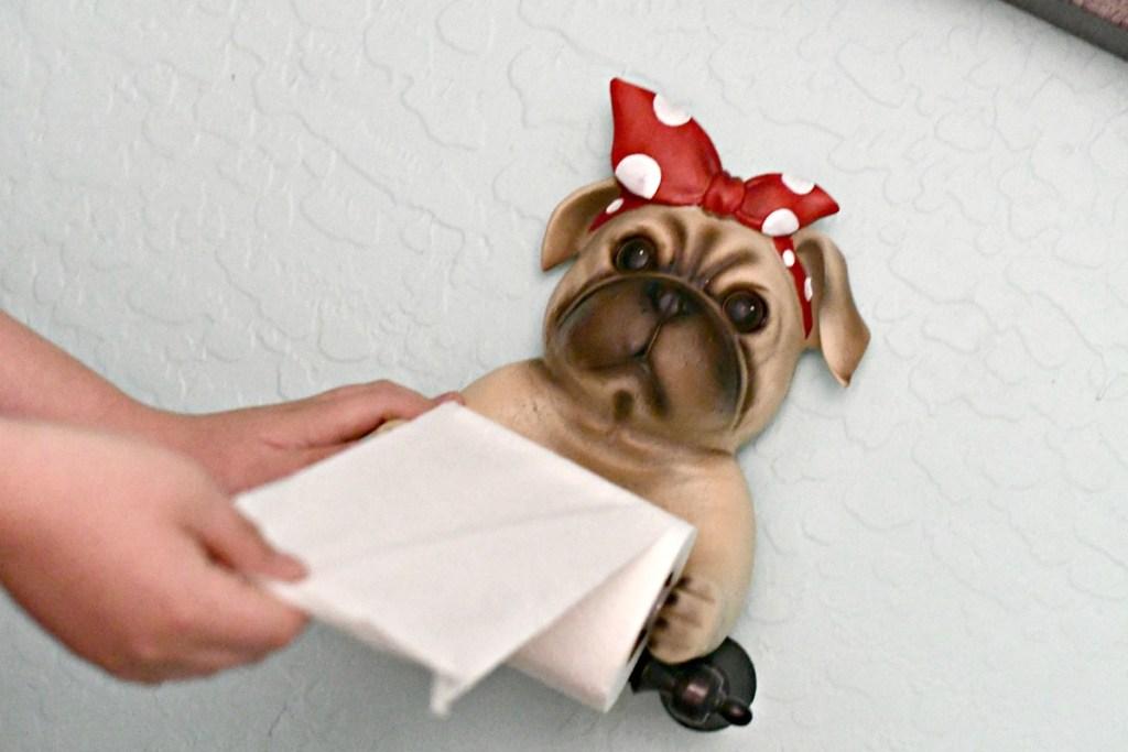 Pug toilet paper holder