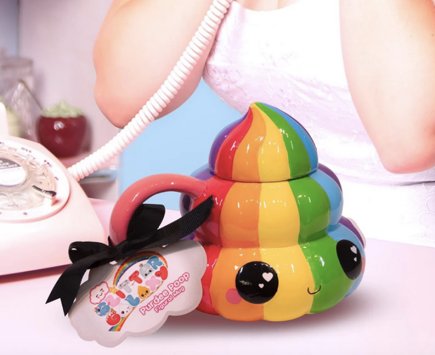 rainbow poop emoji mug with lid