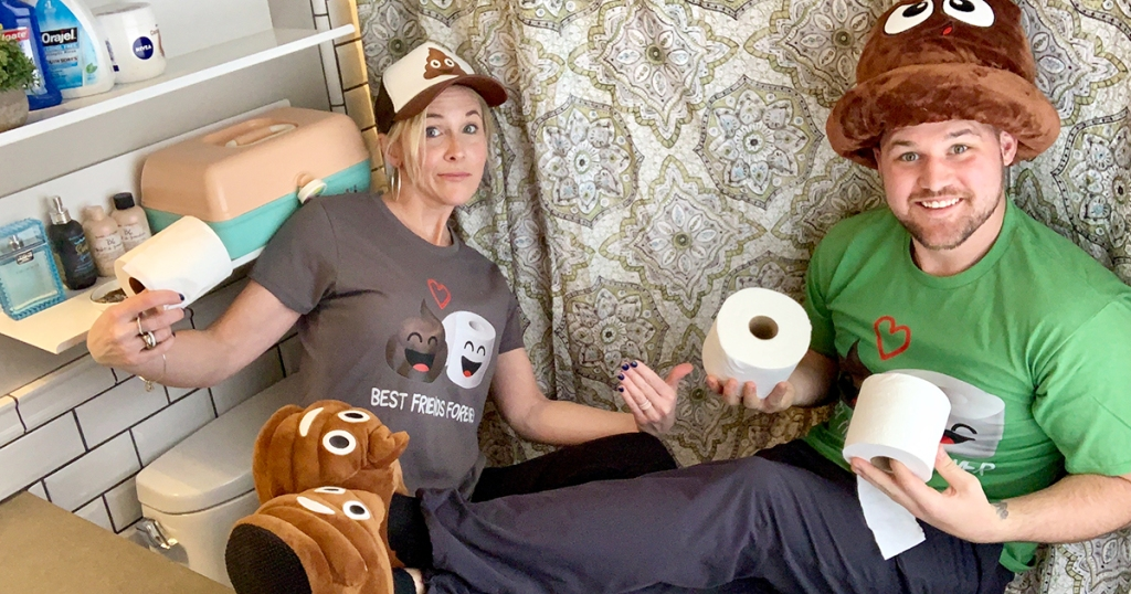 collin and stetson in poop-themed shirts, slippers, and hats
