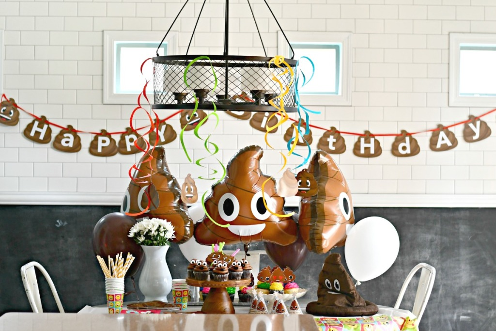 tabletop decorated for a poop themed party