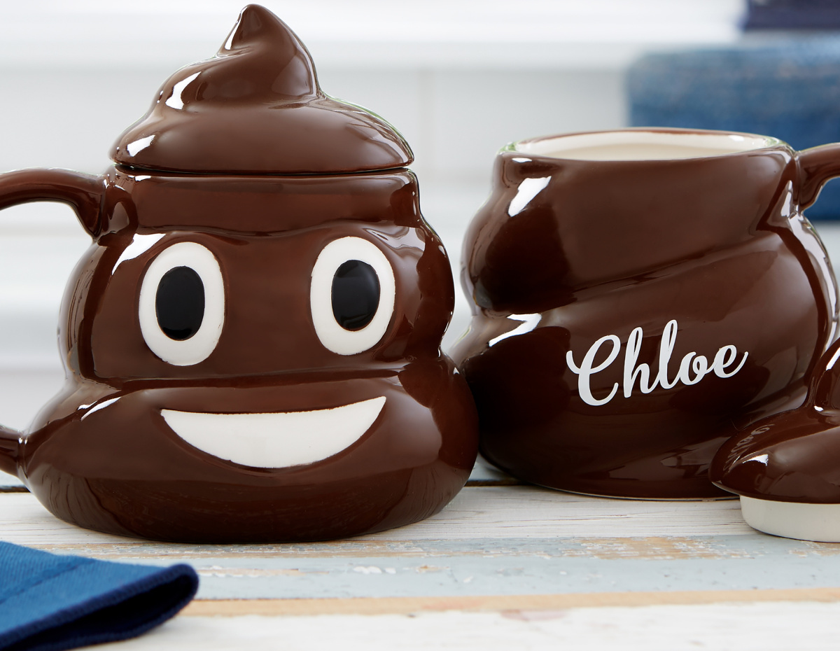 personalized lidded poop mug