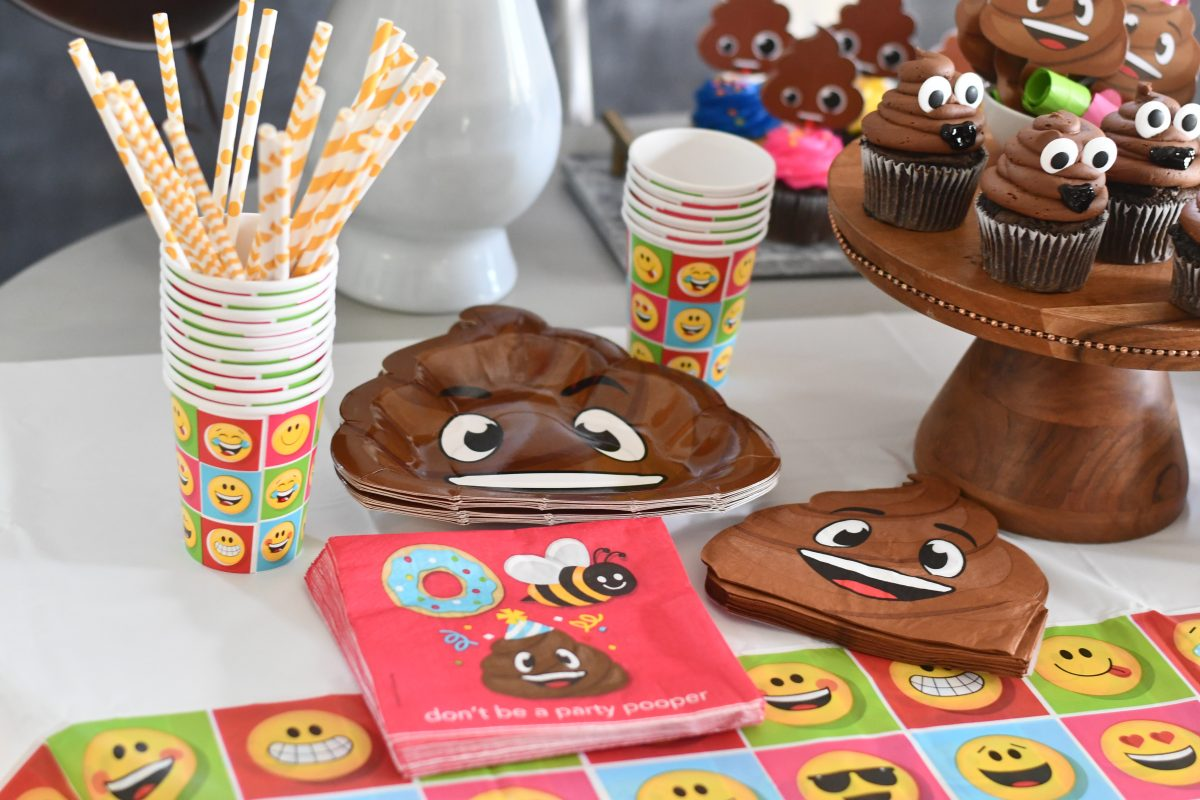 poop party supply bundle via amazon set out on party table