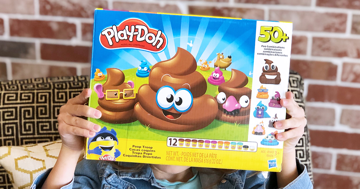 poop play-doh set — holding up play-doh set box