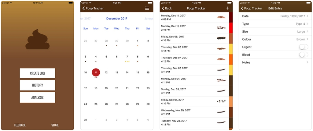 poop tracker app screenshots