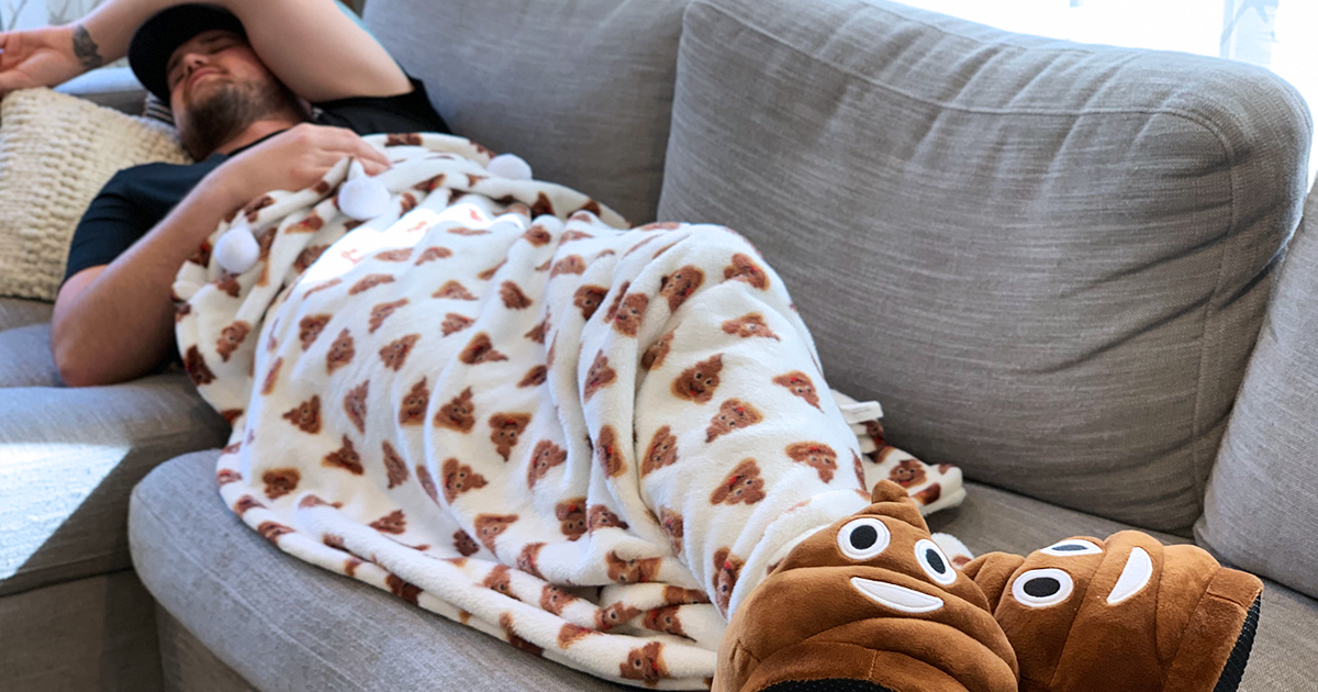 Curl Up With This Warm and Cozy Poop-Emoji Blanket